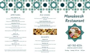 Middle Eastern Restaurant Takeout Menu