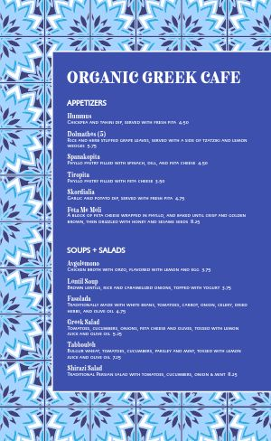 Organic Greek Cafe Menu