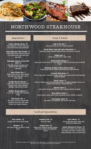 Woodgrain Steakhouse Menu