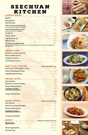 Chinese Kitchen Tabloid Menu