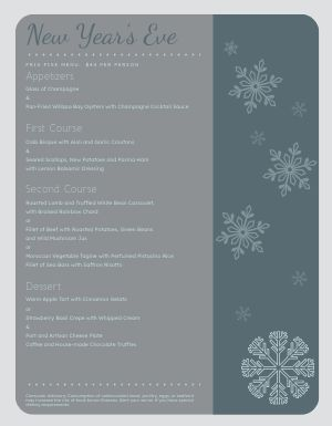 New Years Snowflake Menu