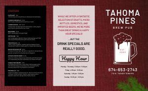 Pines Pub Takeout Menu