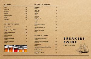 Cork Beer Folded Menu
