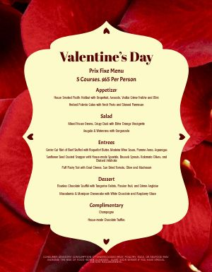 Valentines Day Roses Menu