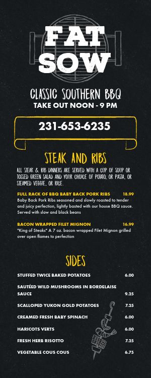 To Go BBQ Takeout Menu