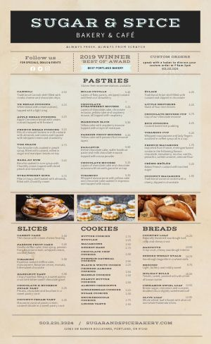Bakery Breads Menu