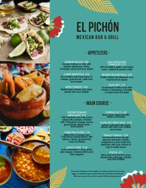 Flashy Mexican Menu