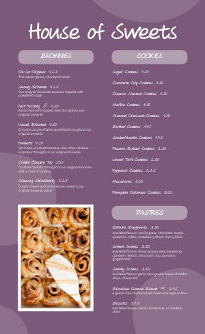 Sweet Shoppe Menu
