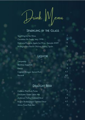 Bar Lounge A4 Menu