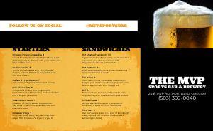 Beer Sports Bar Takeout Menu