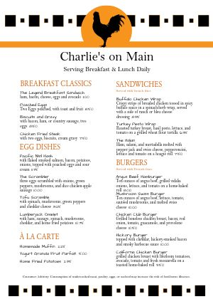 A4 Bistro Breakfast Menu