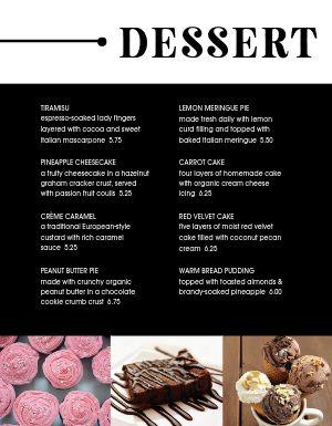 Modern Dessert Specials Menu