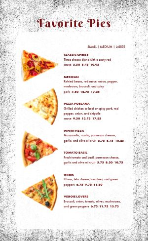 Casual Pizza Menu