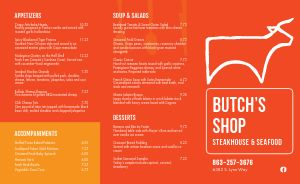 Steakhouse Beef Takeout Menu