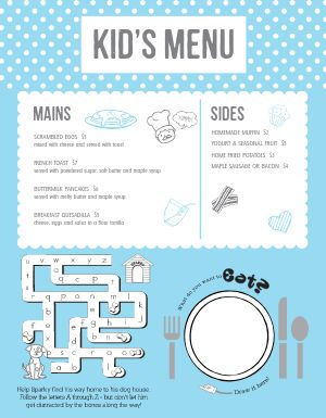 Breakfast Kids Menu