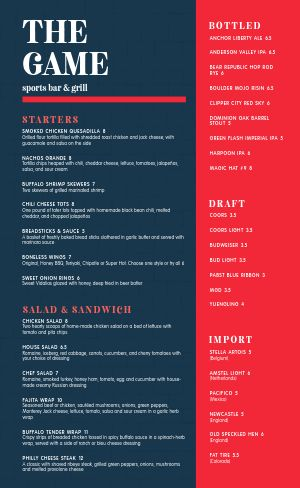 Game Sports Bar Menu