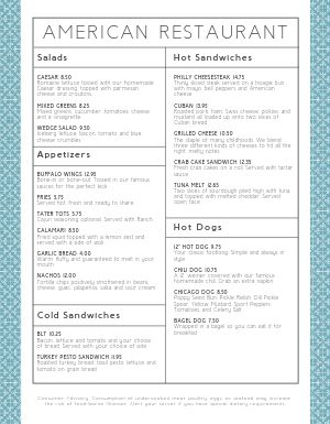 Patterned American Menu