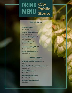 Pub Photo Hops Menu