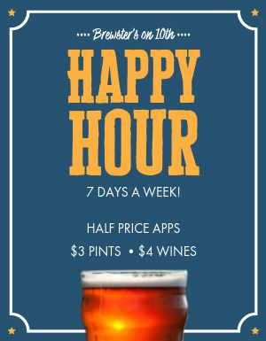 Happy Hour Pints Flyer