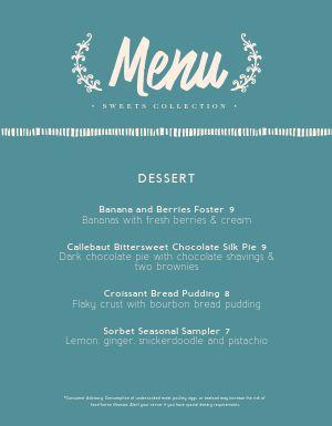 Fine Dining Dessert Menu
