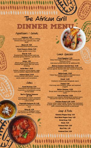 African Dine In Menu
