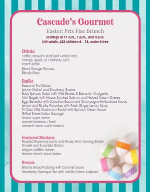 Colorful Easter Menu