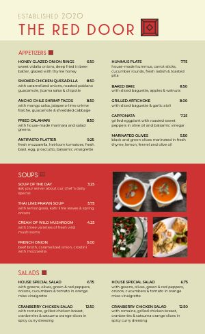 Red Soup Family Menu