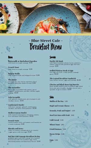 Breakfast Menu Sample