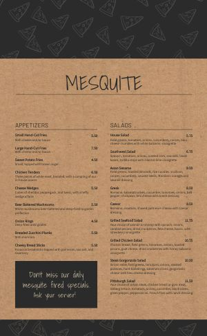 Mesquite Pizza Menu