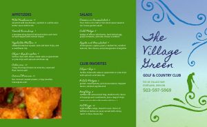 Colorful Country Club Takeout Menu