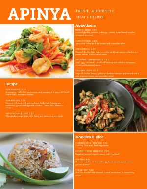 Thai Food Menu
