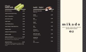 Basic Sushi Japanese Takeout Menu