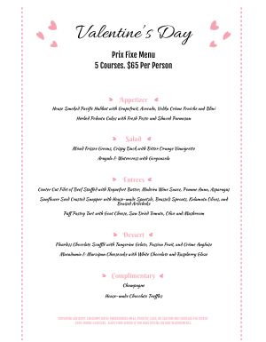 Valentines Hearts Menu