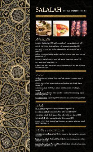 Golden Middle Eastern Menu