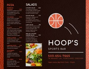 Basketball Sports Bar Bifold Takeout Menu