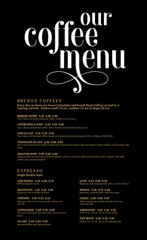 Coffee Menu Example