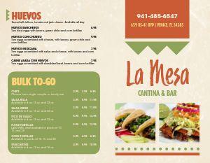 Mexican Bar Bifold Takeout Menu
