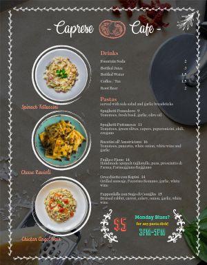 Cafe Pasta Menu