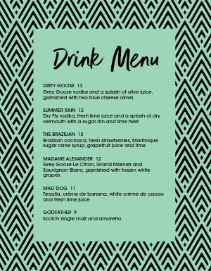 Trendy Bar Menu