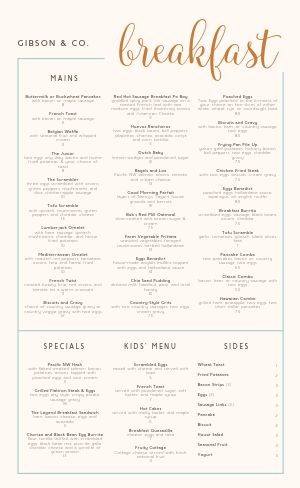 Cursive Breakfast Menu