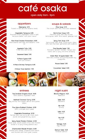 Japanese Dining Menu