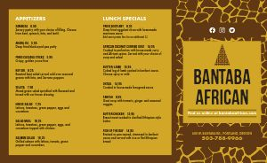 Sample African Cuisine Takeout Menu