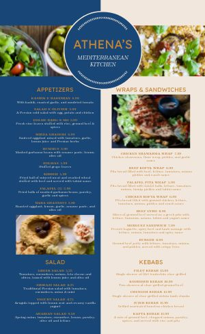 Greek Dining Menu