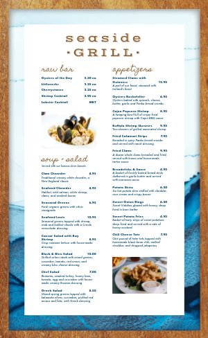 Seafood Sailor Menu
