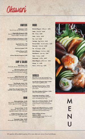 Japanese Sushi Menu