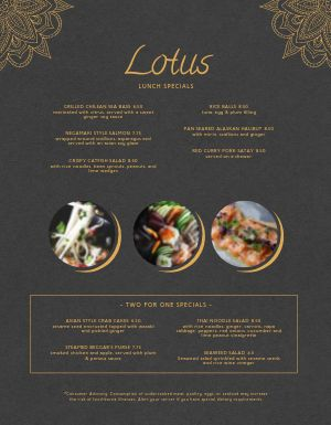 Thai Lotus Menu