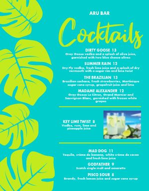 Tropical Drinks Bar Menu