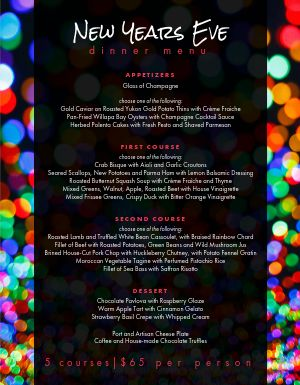 Multicolored New Years Menu