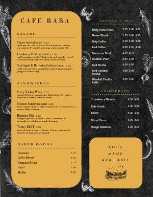 Dark Gold Cafe Menu