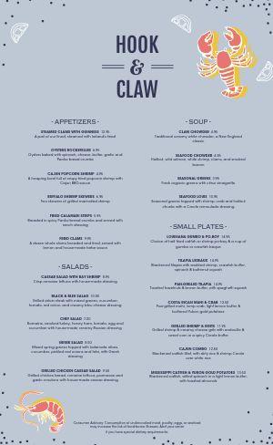 Silver Seafood Menu